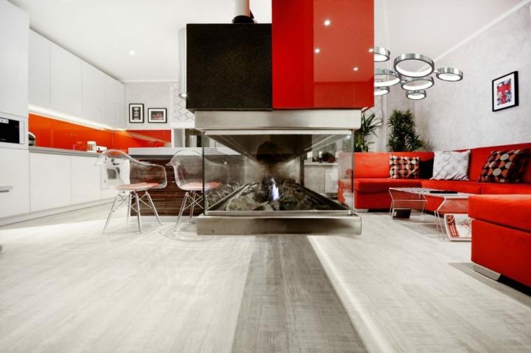 salon cocina rojo diseno Allarts Design ideas