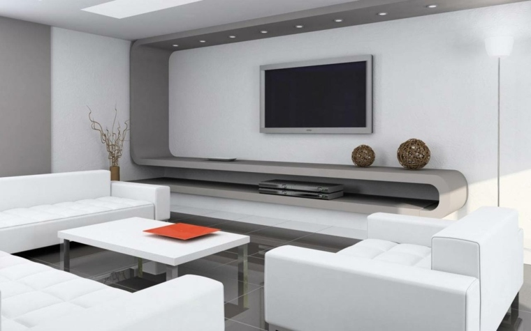 salon minimalista especiales blanco muebles
