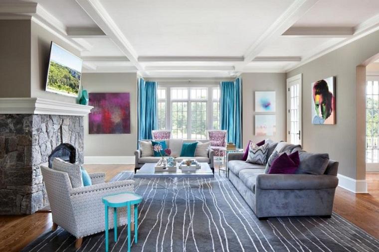 salones con encanto combinacion acentos azul purpura Claire Paquin ideas