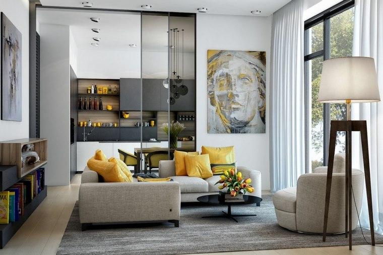 separadores ambientes habitaciones diseno acentos amarillo ideas