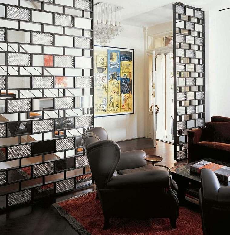 separadores ambientes habitaciones diseno cristales espejos ideas