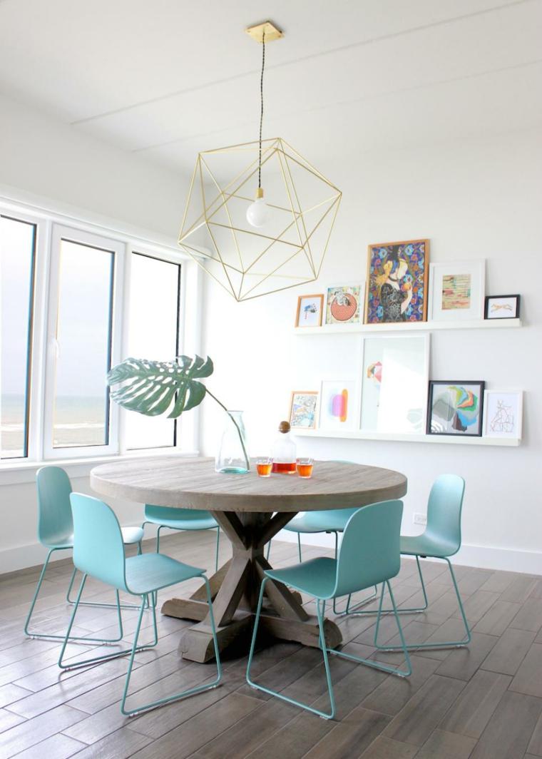 conjunto sillas comedor color celeste
