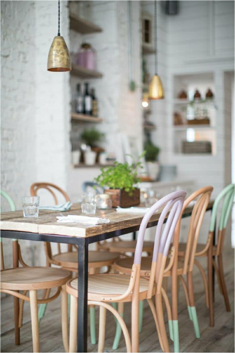 sillas comedor pintadas colores pastel
