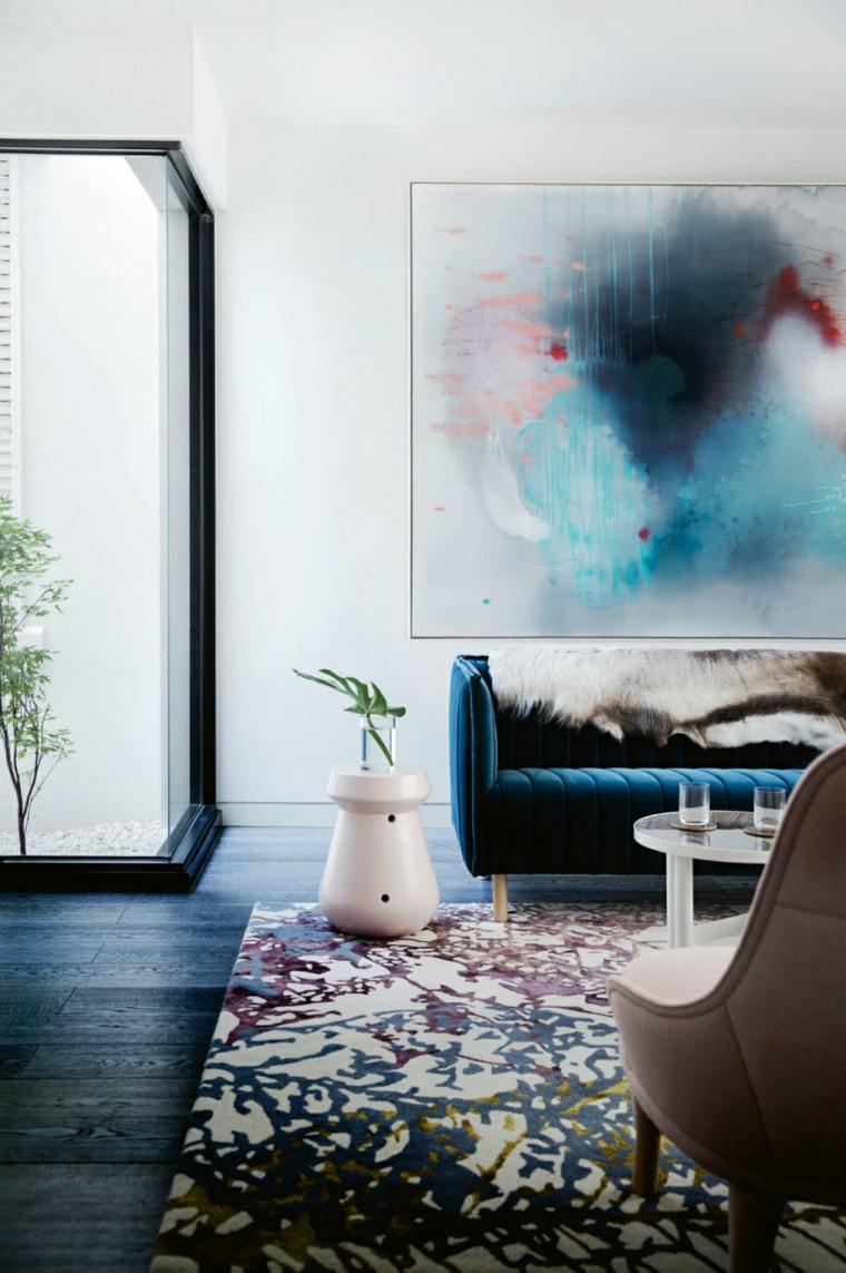 sofa salon color azul añil