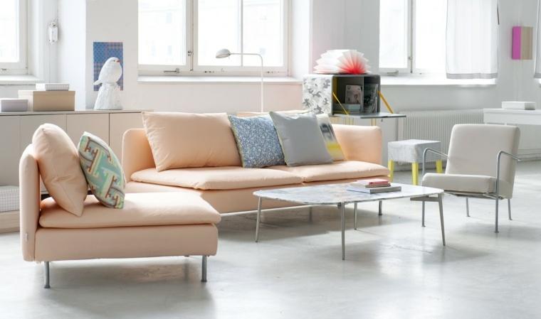 sofa sillon color melocoton naranja