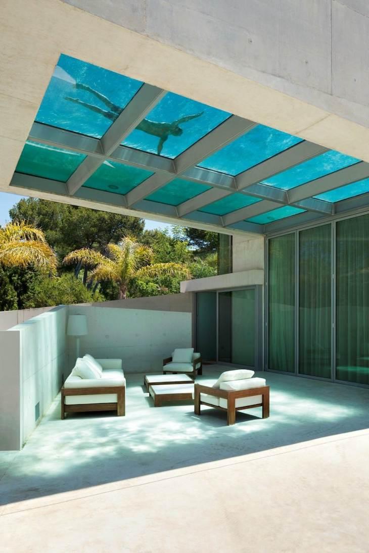 techo cruzados vigas materiale colores