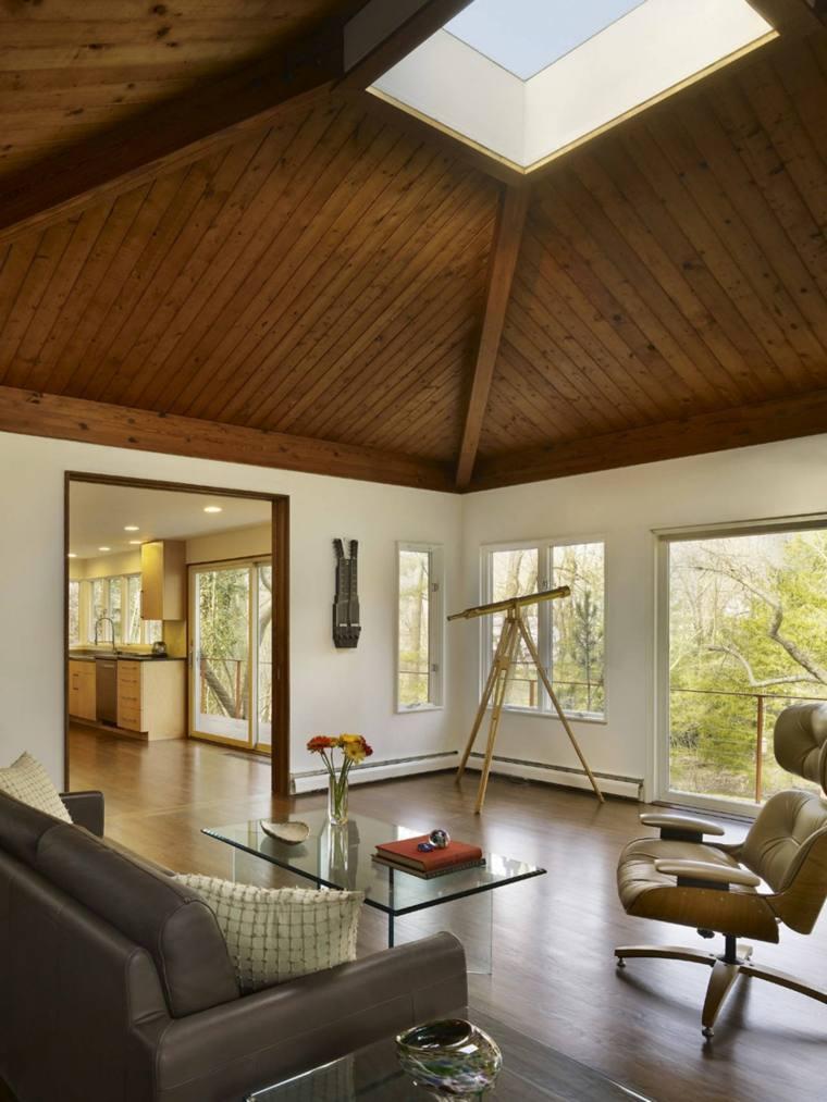 techo de madera ventana