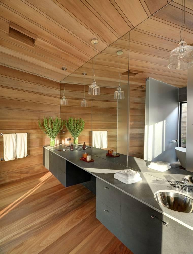 techos de madera diseno interiores casa disenada Bates Masi Architects bano ideas