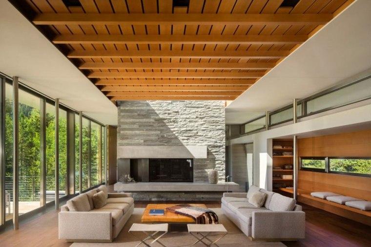 techos de madera diseno interiores casa disenada Bohlin Cywinski Jackson ideas