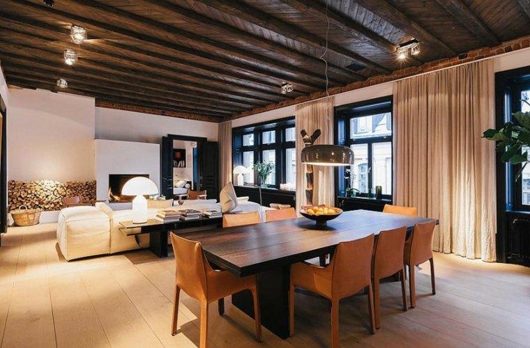 techos madera diseno interiores plano abierto comedor salon ideas