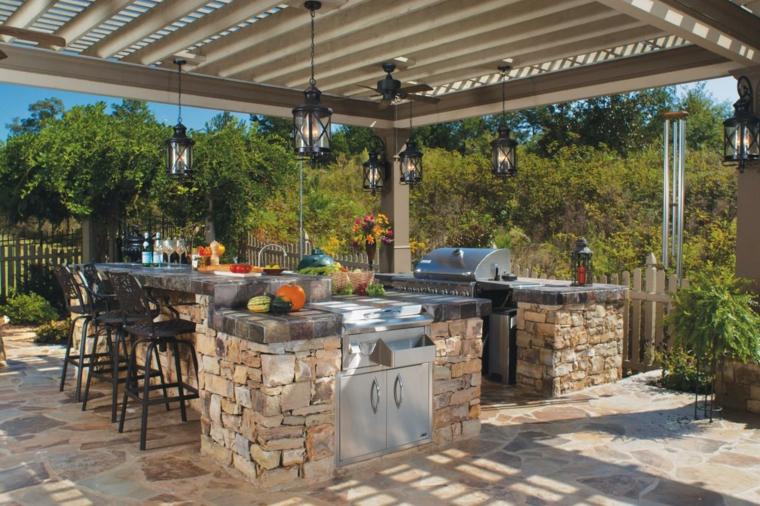 terraza cubierta bar cocina pérgola