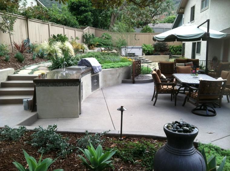 terraza moderna cocina al aire libre