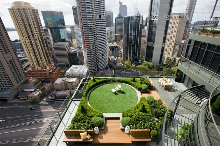 terraza lujosa original paisaje moderno