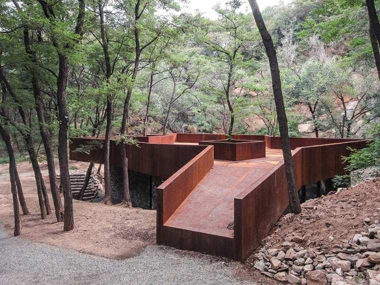 terrazas acero corten muebles exteriores fuentes