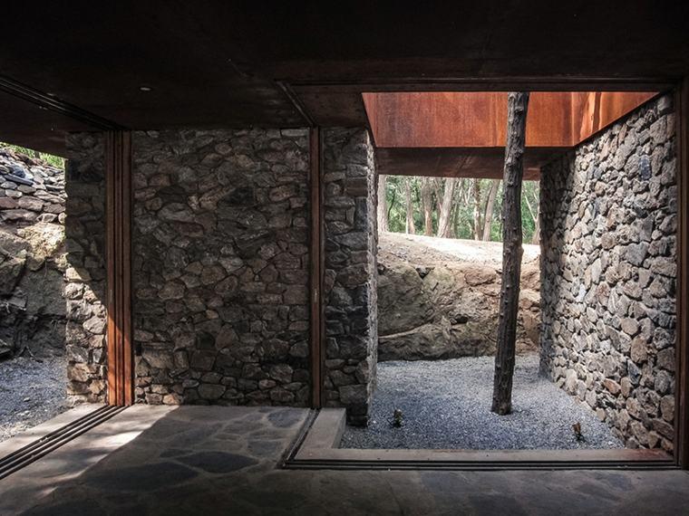 terrazas acero corten paredes rocas lajas