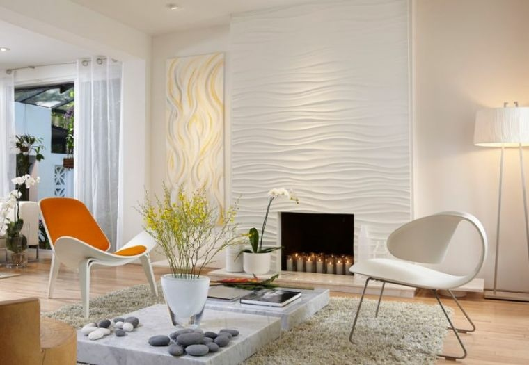textura 3D pared diseno opciones originales salon moderno ideas