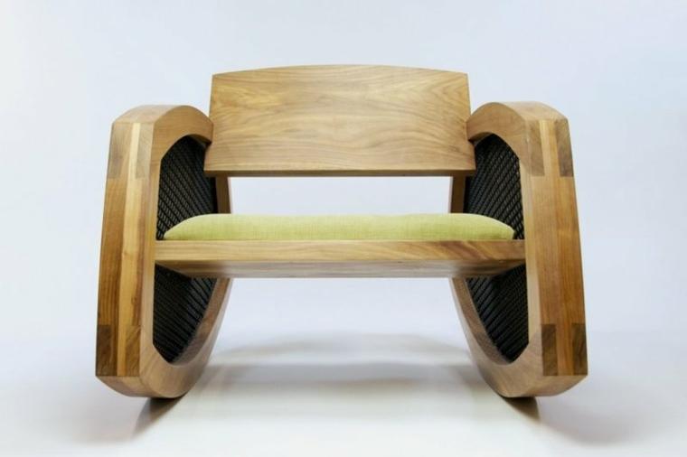 vista frontal mecedroa madera