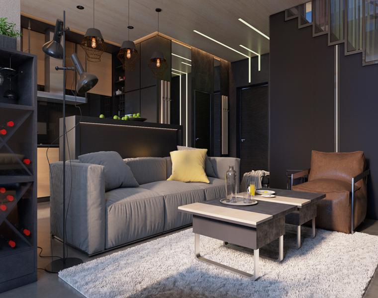 salón sofa gris