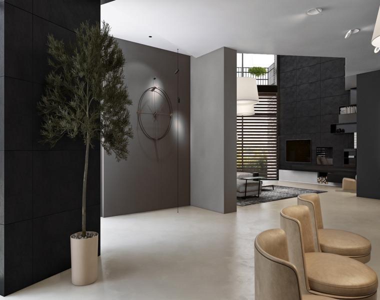 entrada pared gris oscuro