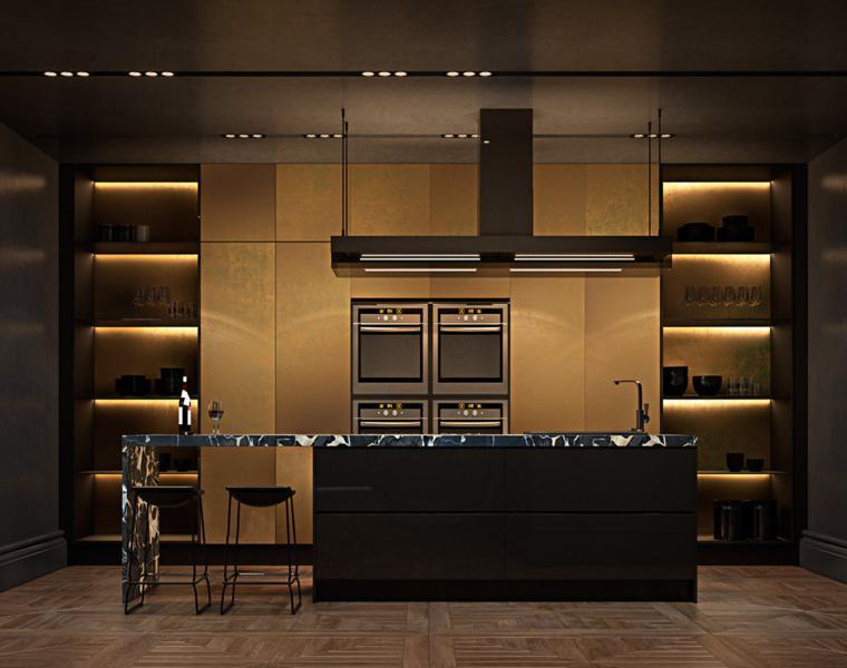 cocina oscura gabinetes dorados