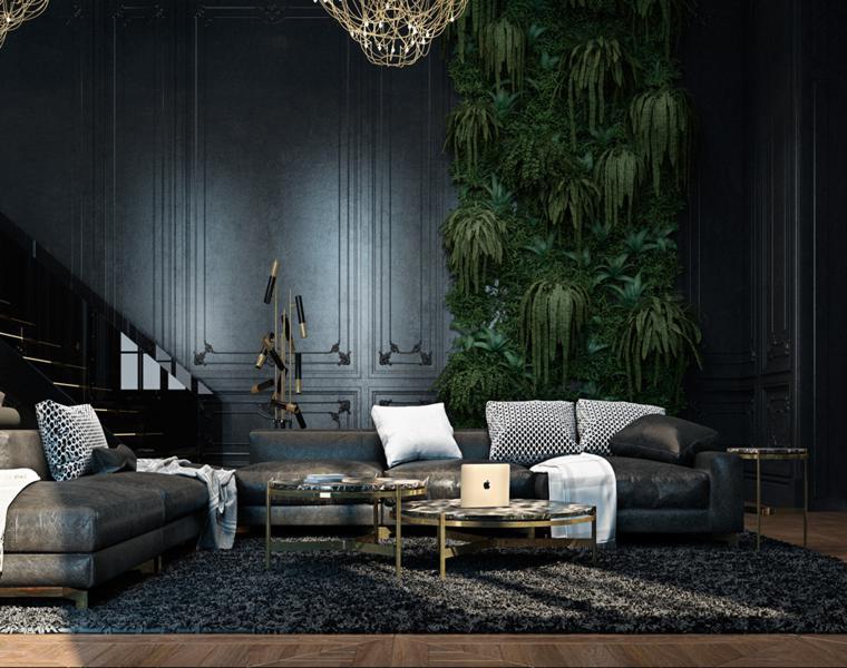 estupendo salon color negro