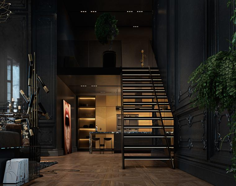 original diseño interior oscuro