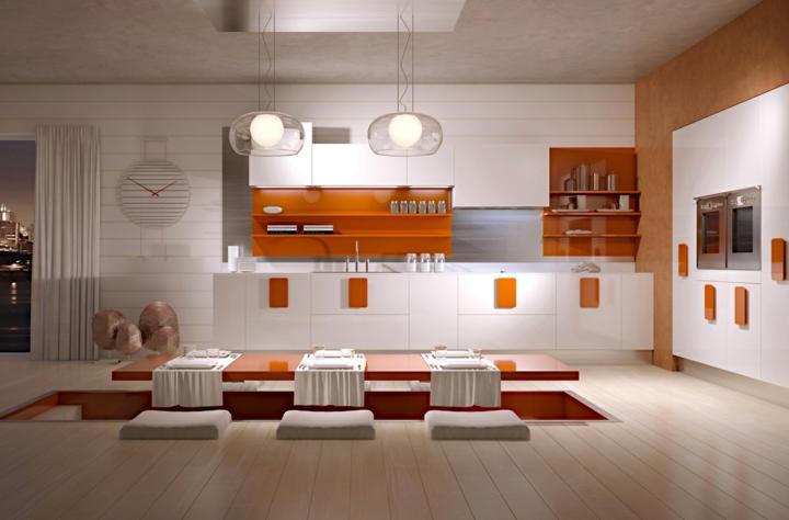 acentos naranja estantes materiales minimalista