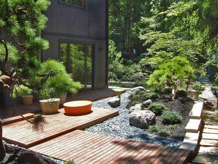 ambiente moderno puente madera plantas