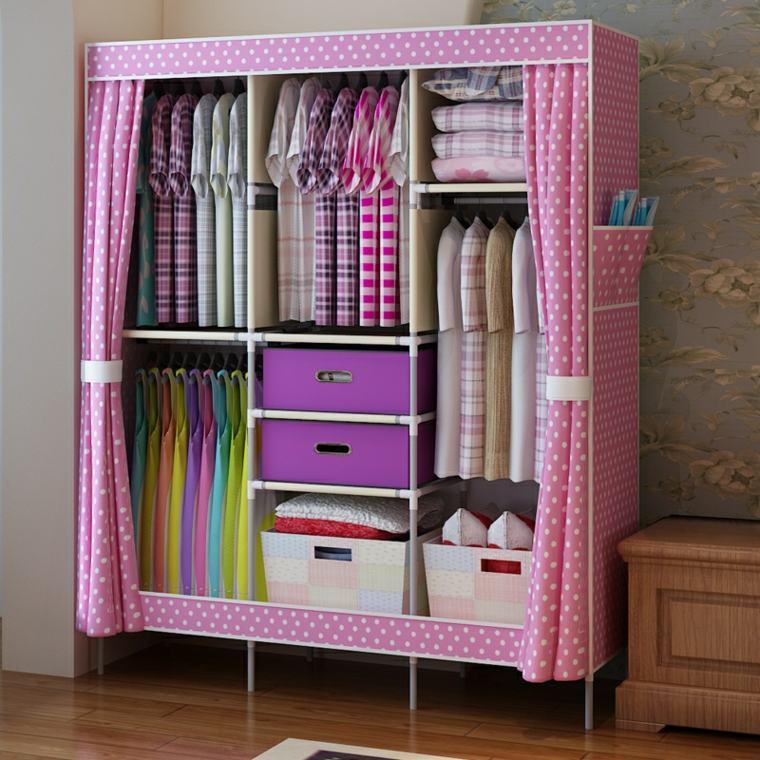armario tela rosa lunares
