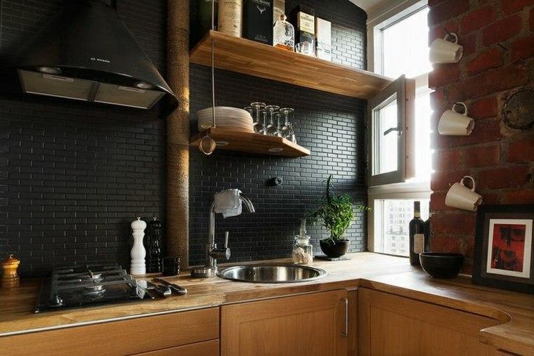 azulejos cocina modernos negros