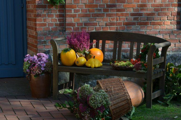 bonita decoración banco jardín