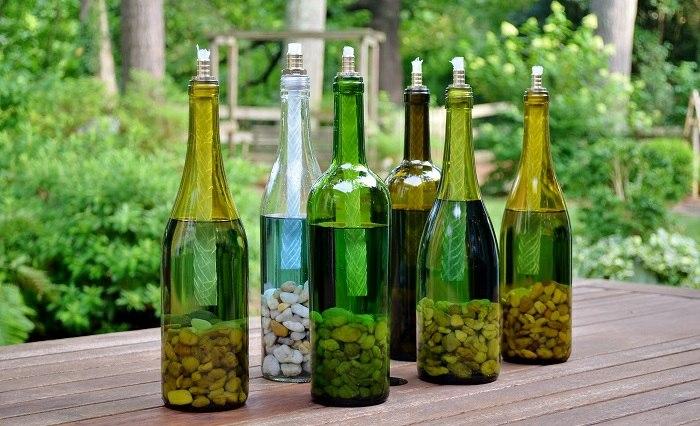 botellas de cristal antorchas decorativas tableros