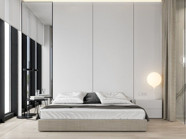 cama baja paneles madera contemporanea