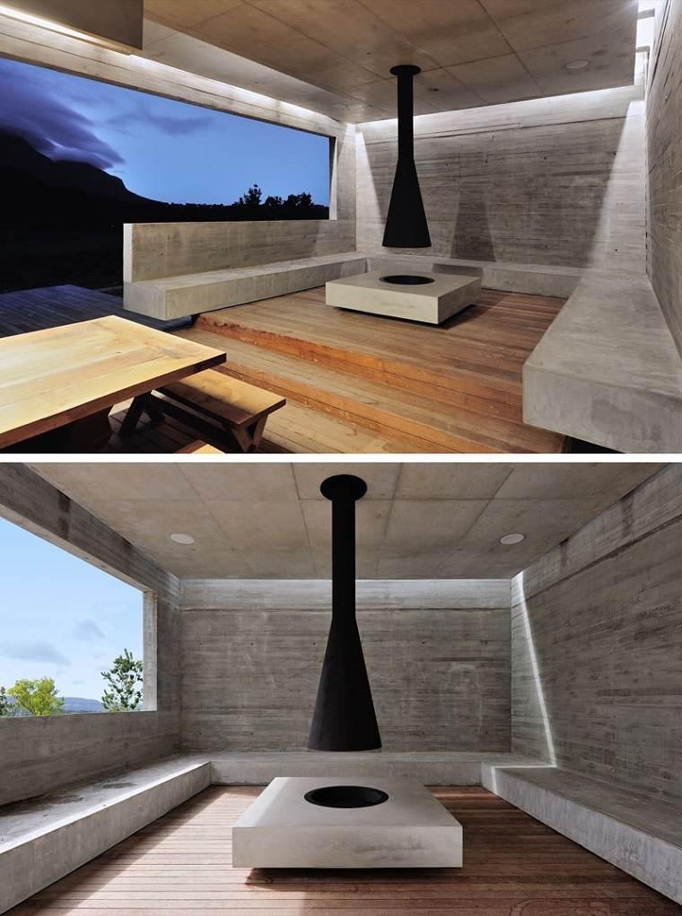 casas de hormigon diseno moderno jardin chimenea ideas