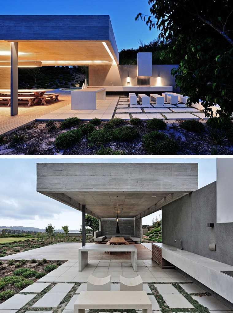 casas de hormigon diseno moderno jardin lugar descanso ideas