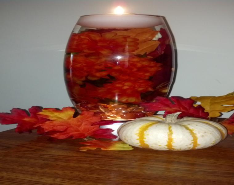 centro de mesa hojas secas