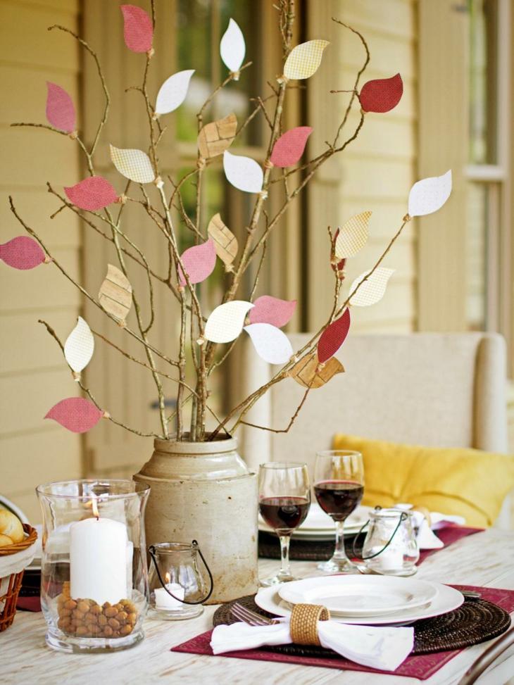 centros de mesa diy papel hojas finas