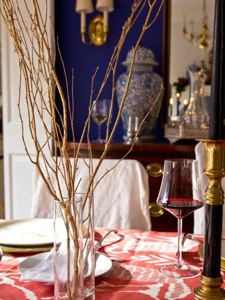 centros de mesa diy ramas adornos vinos