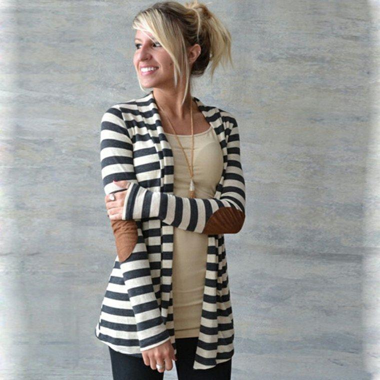 chaquetas para mujer tejidas rayas