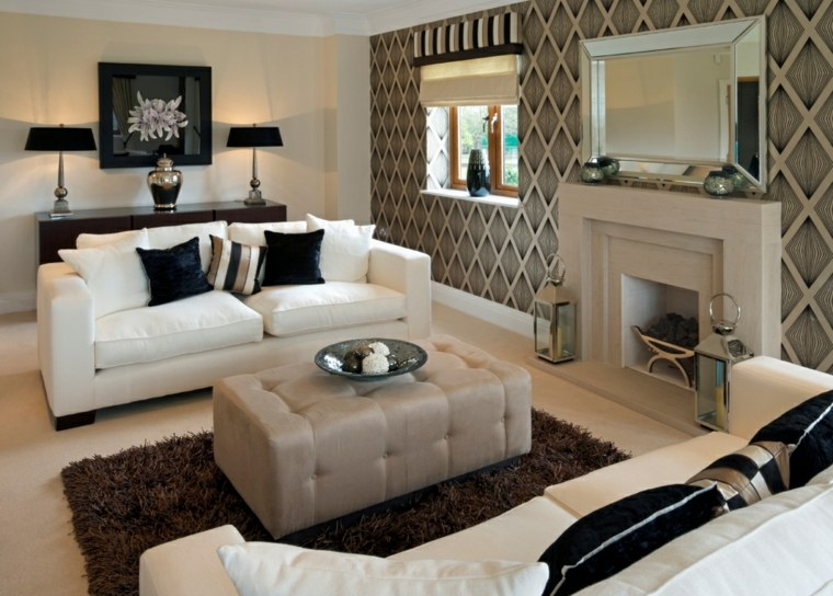 diseñop salón moderno chimenea