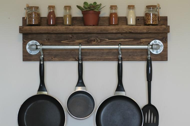 cocina ideas ahorar espacio estante madera ideas