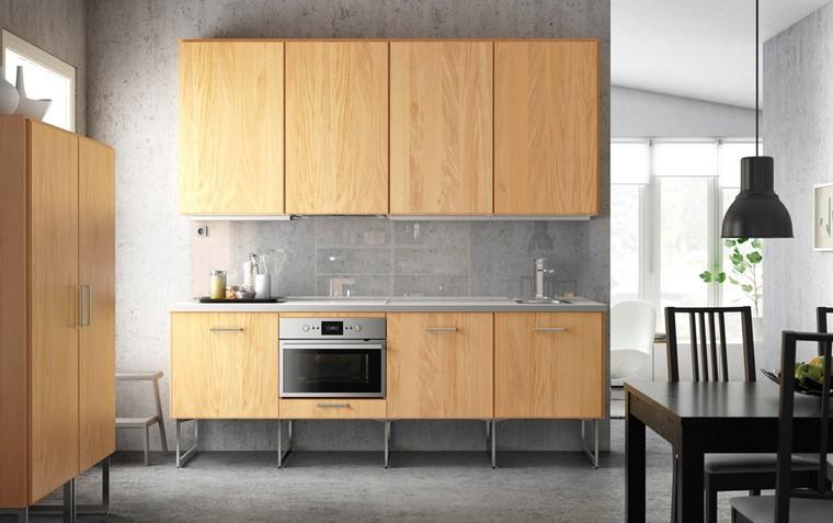 cocina ikea diseno contraste madera color claro acentos oscuros ideas