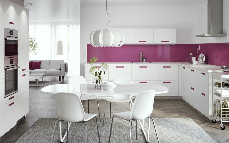 cocina ikea diseno limpio contemporaneo toques purpura ideas