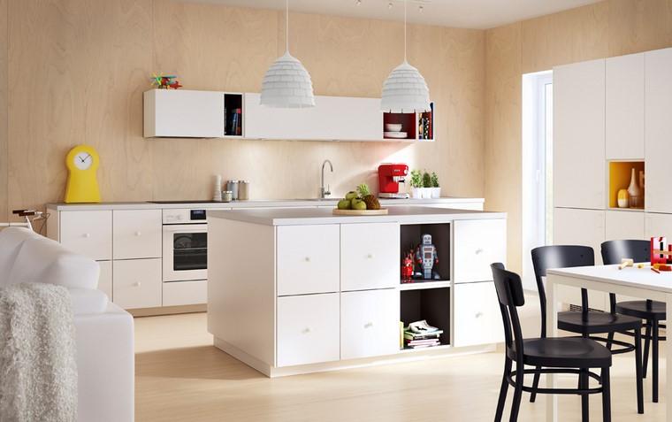 diseno muebles de cocina ikea cocina con muebles de color blanco brillantes y encimeras de