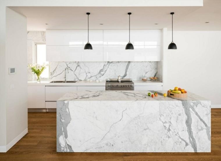 cocina moderna isla marmol