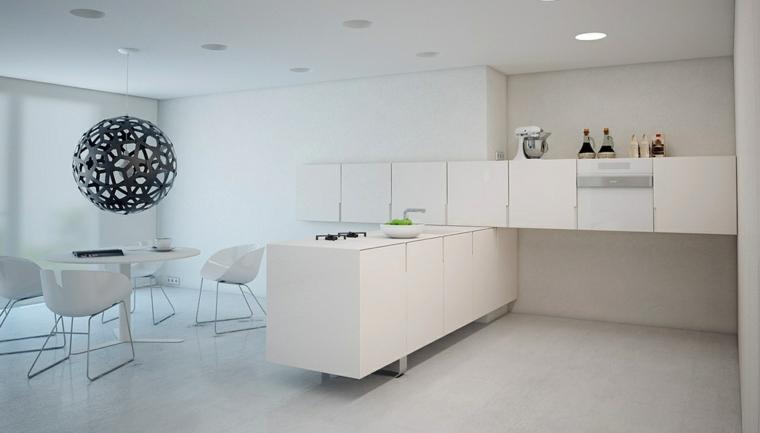 cocina moderna sencilla muebles blancos