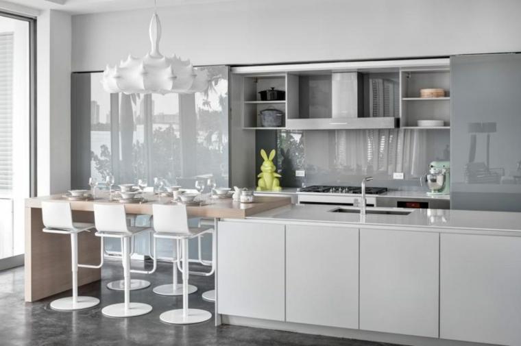 cocina moderna protector vidrio lacado