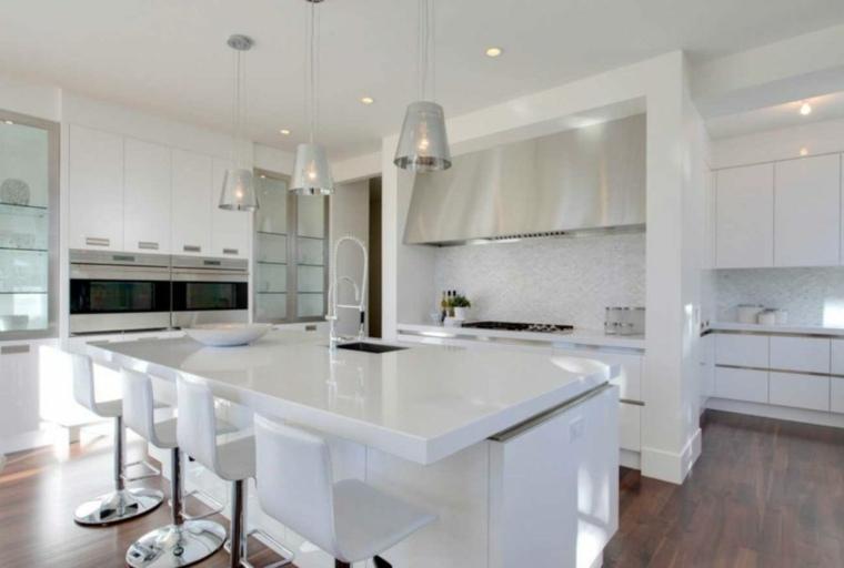 diseño cocina muebles blancos modernos
