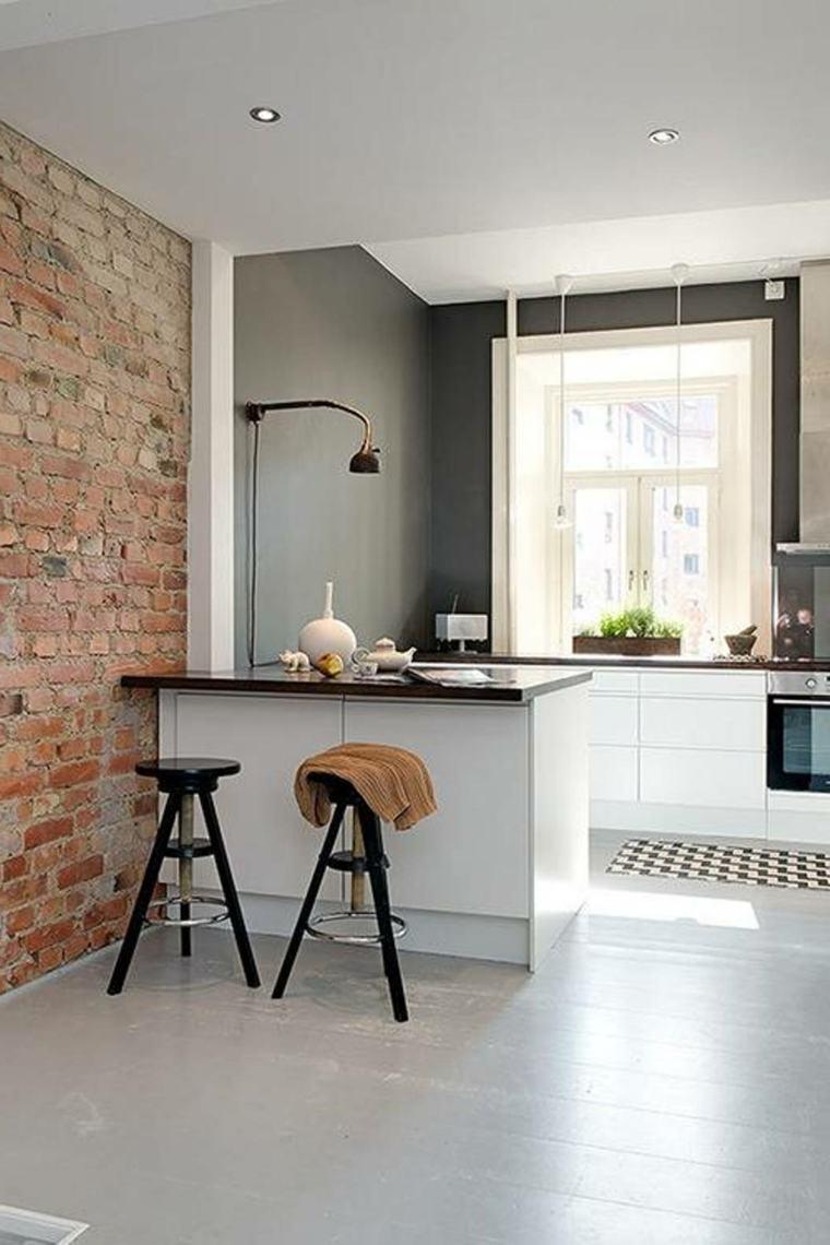 cocina moderna pared ladrillo visto