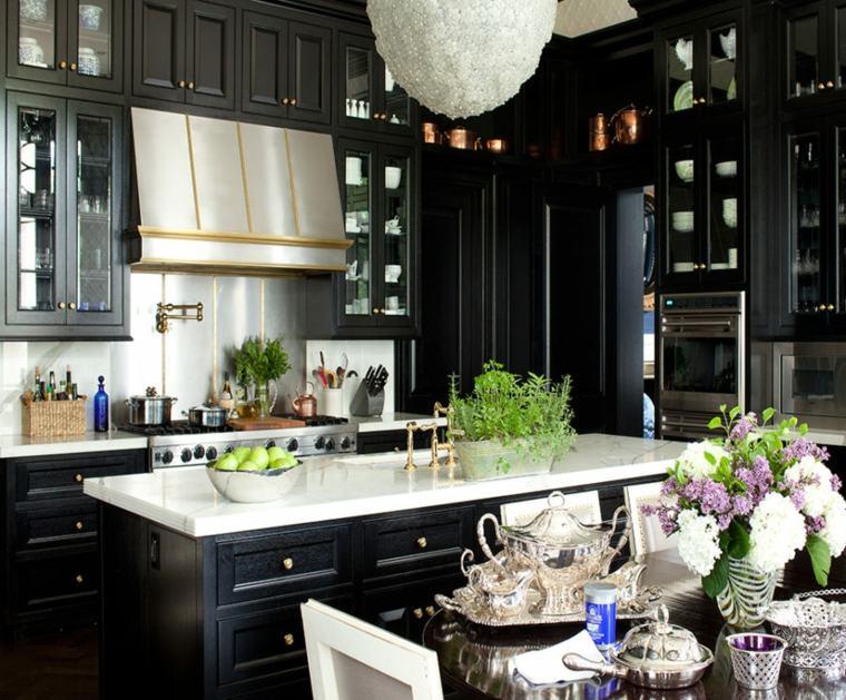 cocina negra encimera blanca salpicadero